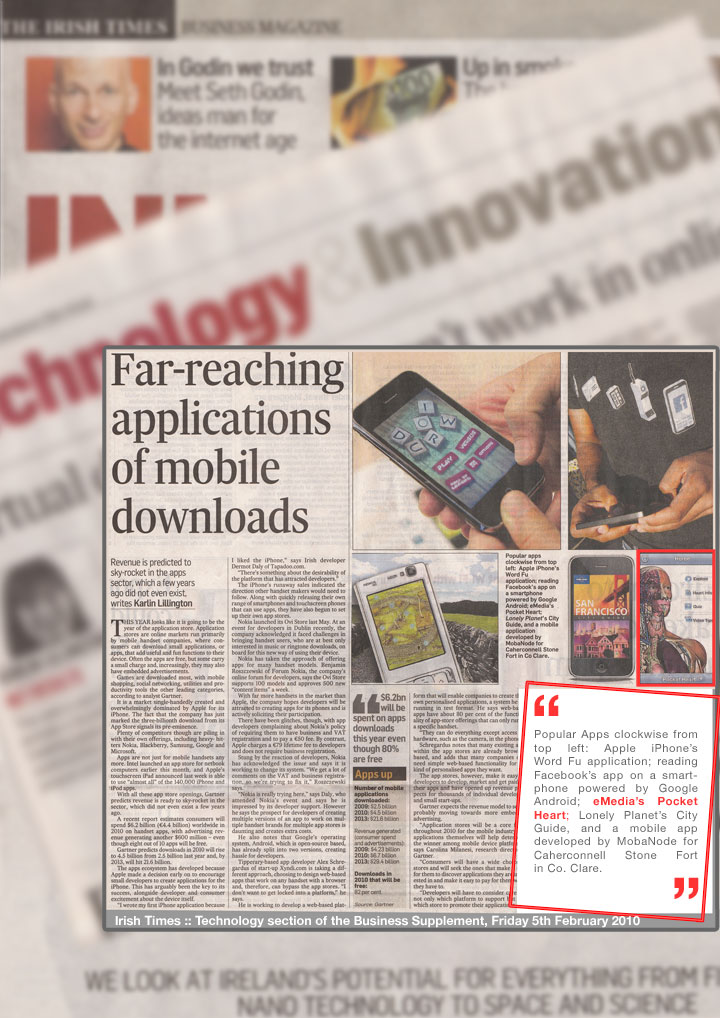 Pocket Heart featured in Irish Times 'Technology'.